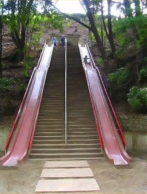 30 Insanely Clever Innovations That Need To Be Everywhere Already - Stairs with slides.