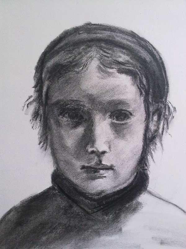 retrato de niña en carboncillo
