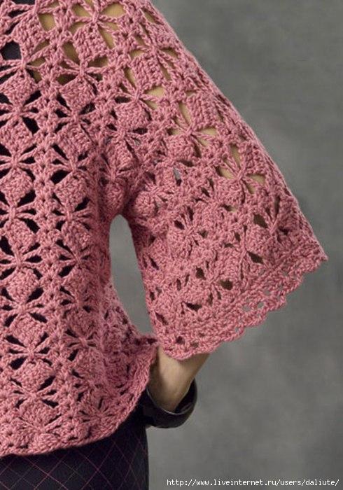 Розовый жакетик крючком. 83884