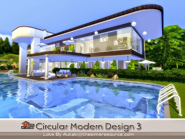 Casa moderna circular design the sims 4 pirralho do game for Casas modernas sims 4 paso a paso
