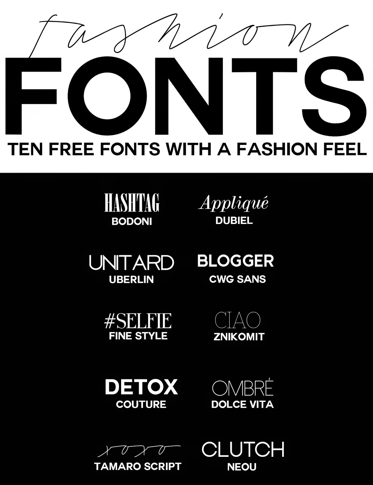 Fashion Fonts Here's a selection of fashion inspired fonts, which can ...