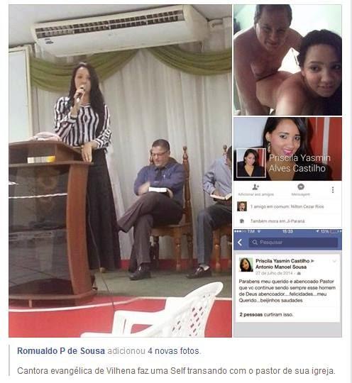 """Cantora evangélica faz foto de quatro """"orando"""" com o """"pau de selfie"""" do pastor de sua igreja"""