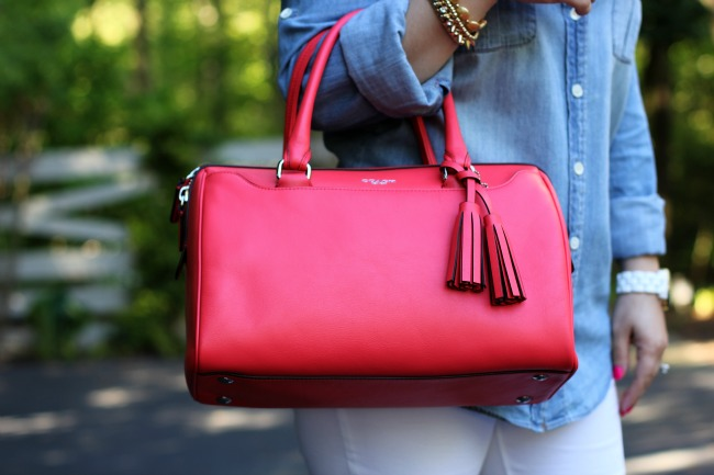 Coral Legacy Leather Haley Satchel Purse - Coach