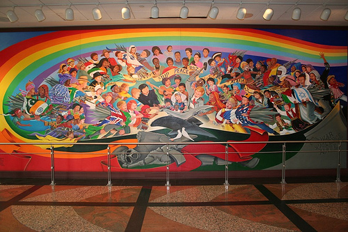 Humanities denver airport conspiracy theory for Denver airport mural conspiracy