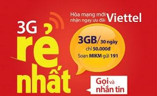 Đăng ký MIKM Viettel 50,000đ 3GB data/tháng