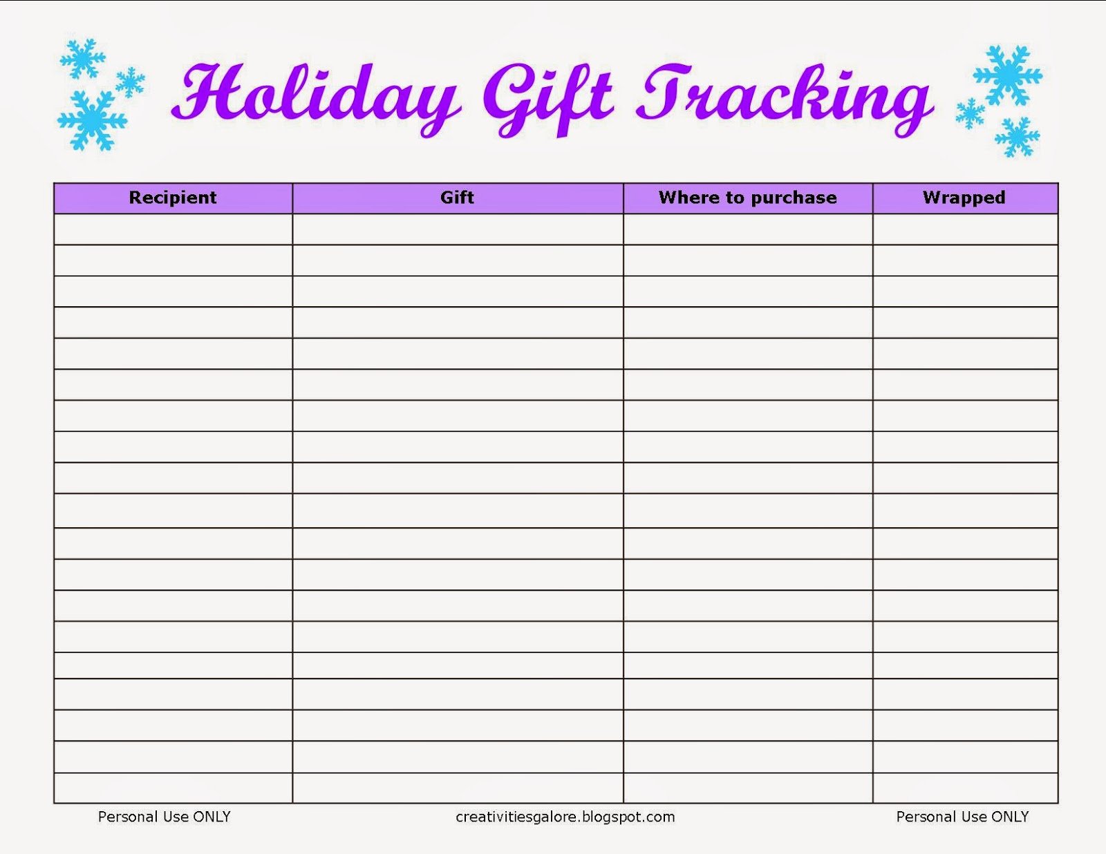 Wedding Gift List Tracker : Creativities Galore: FREE Holiday Gift Tracking Sheet