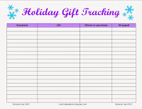 Creativities Galore: Gift Tracking Sheet
