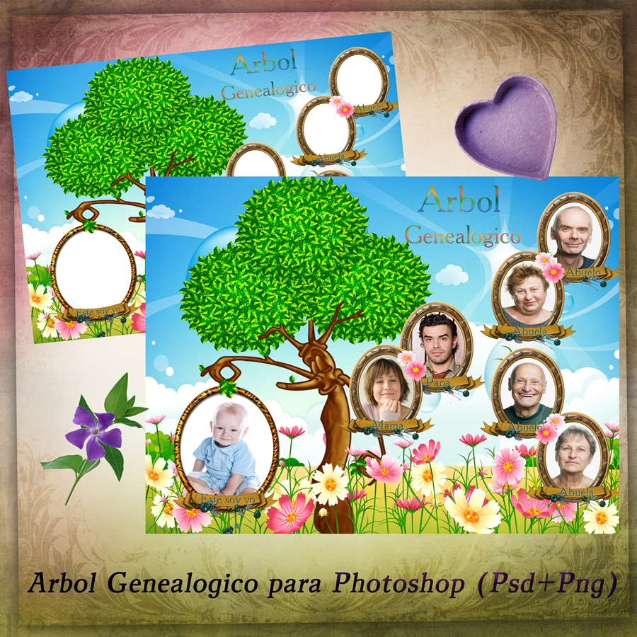 Recursos Photoshop Llanpac: Arbol Genealogico para Photoshop (Psd)