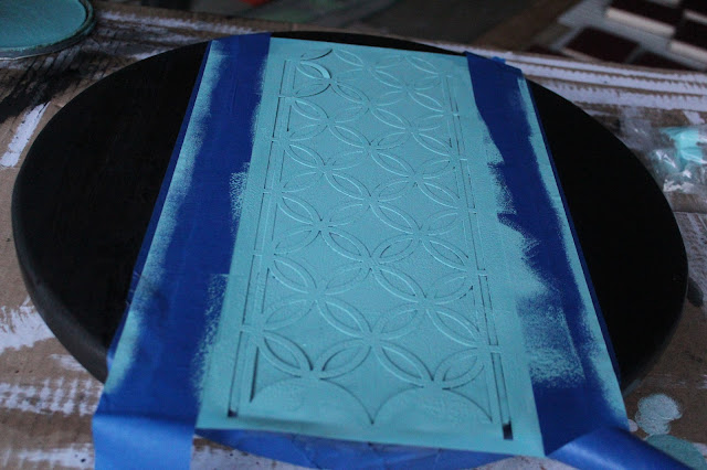 martha stewart stencil and minwax stain on lazy suzan