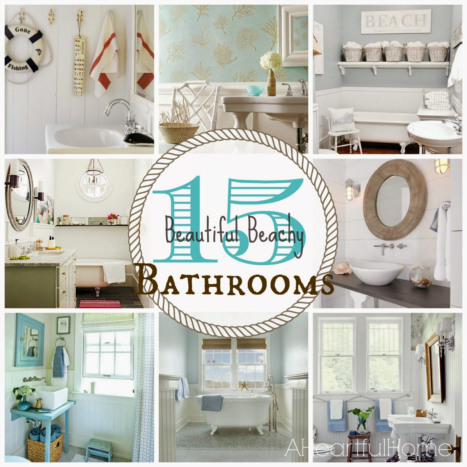 {31 Days Of Coastal Style} 15 Beautiful Beachy Bathrooms