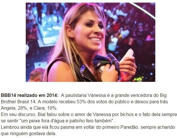 Vanessa é a grande vencedora do Big Brother Brasil 14