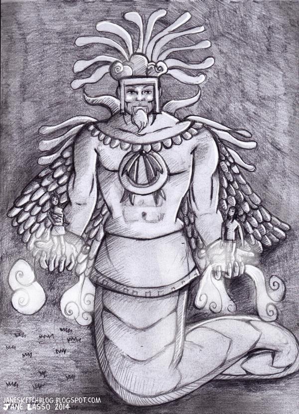 Dibujo de Quetzalcoatl a lápiz