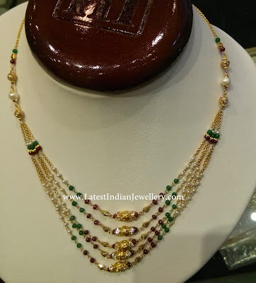 stylish beaded gold necklace