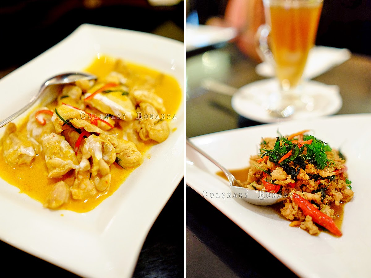 Left: Red Chicken Curry | Right: Stir-Fried Beef with Basil Leaves