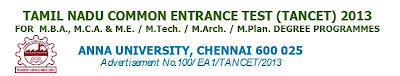 TANCET 2013 Details Apply Online