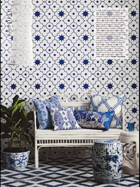 Ming dynasty, ceramic pod, rattan furniture, blue and white, blue and white tiles, Raffles style, bohemian, luxe, furniture