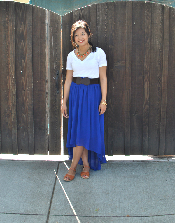 blue high-waisted skirt