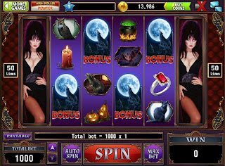 Actual screenshot of Elvira at Hit It Rich! Casino Slots on Facebook