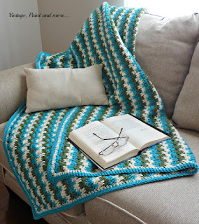 Vintage, Paint and more... an afghan crocheted from a free pattern in the leaping stripes and blocks pattern