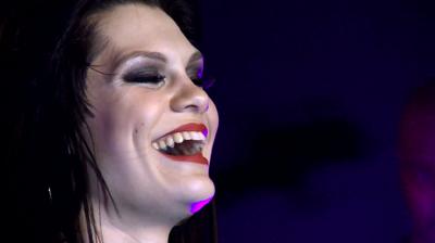 Jessie J, smiling, live in New York, 2010.