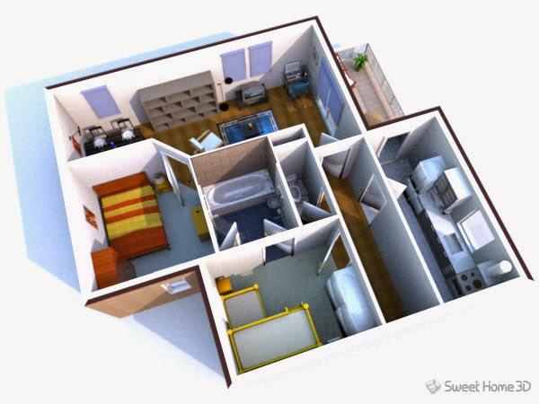 برنامج مجاني لتصميم وتخطيط نماذج الاثاث والمنازل بتقنية 3D لويندوز ولينكس وماك Sweet Home 3D 4.4