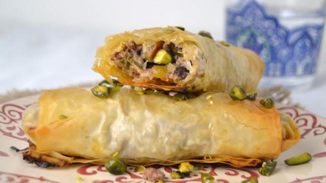receta rollitos masa philo carne ternera briouats marruecos