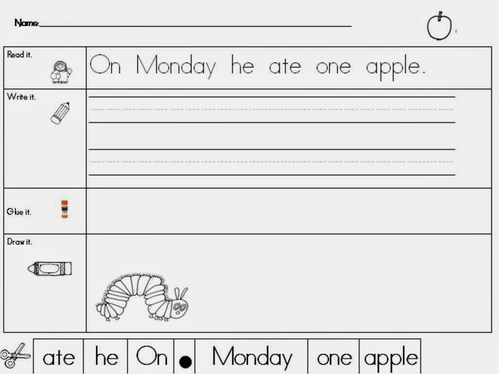 http://www.teacherspayteachers.com/Product/Very-Hungry-Caterpillar-Read-It-Trace-It-Put-the-Sentence-Together-229030