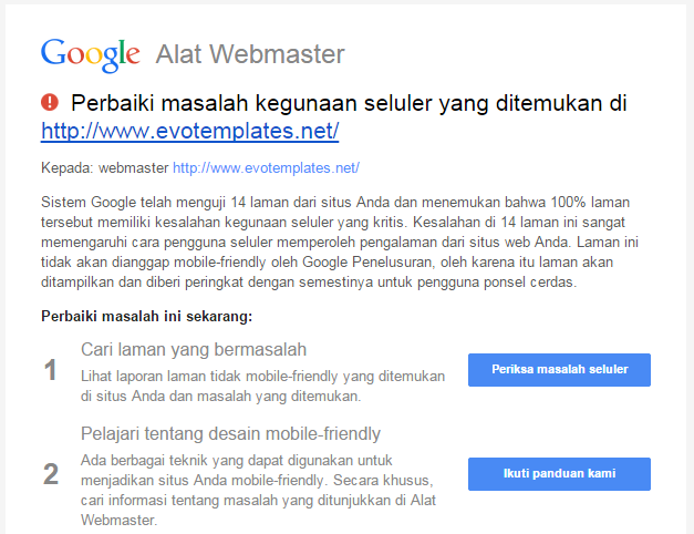 Evo Templates tidak Mobile Friendly