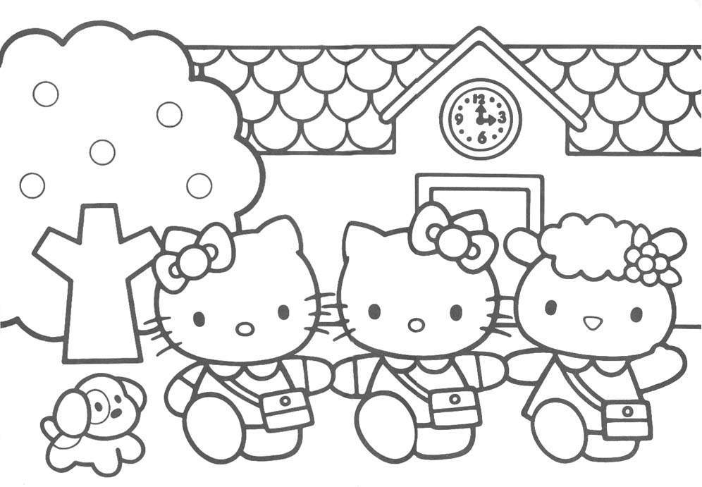 a desenhar o hello kitty in colorir