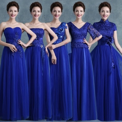 5-Design Royal Blue Sequin Embroidery Crochet Maxi Bridesmaids Dress