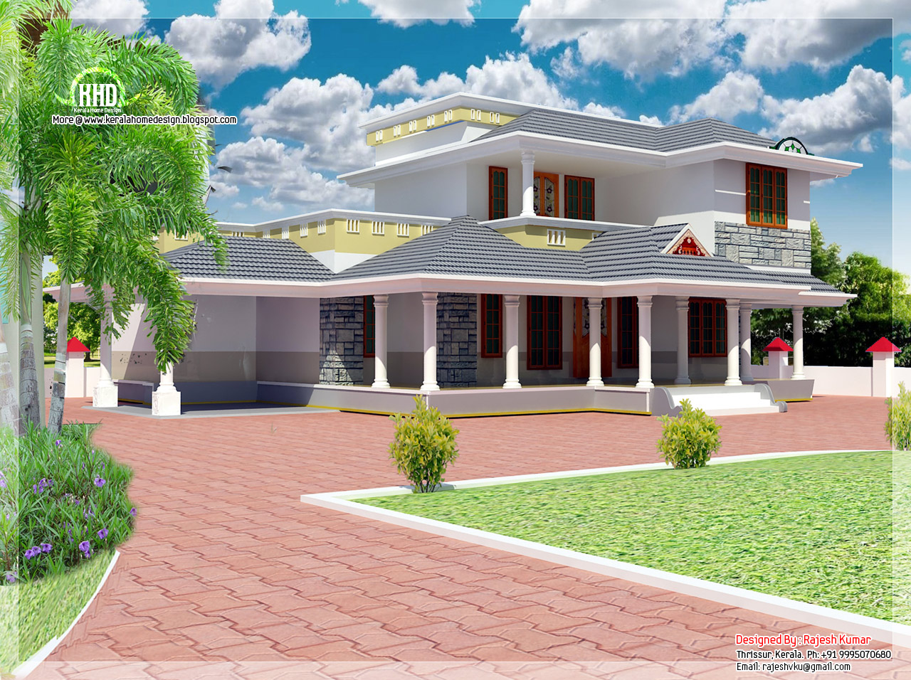 2100 double floor house elevation kerala home for Kerala home designs photos in double floor