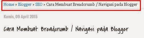 Cara membuat breadcrumb / navigasi pada blogger