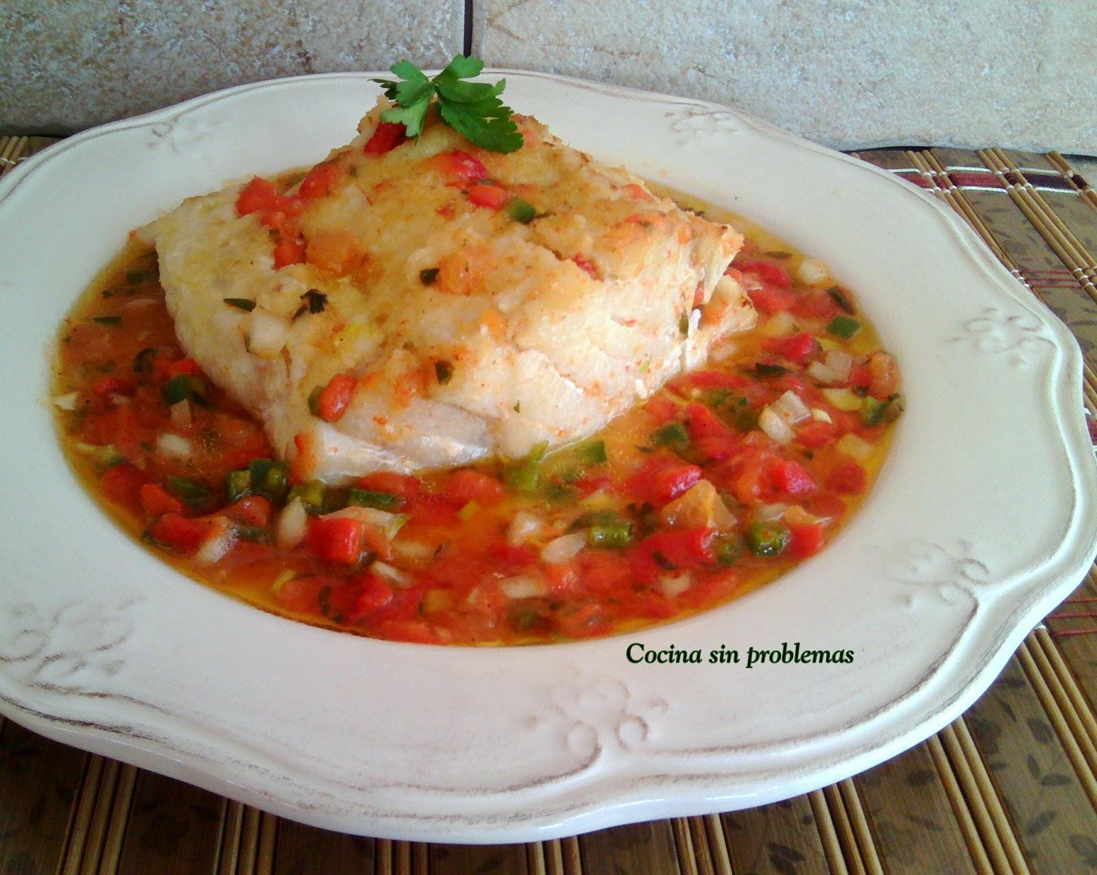 Cocina sin problemas bacalao con salsa mediterranea for Cocinar cocochas de bacalao