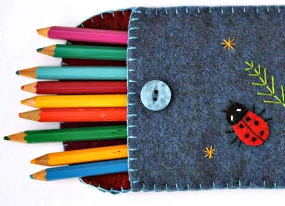 Pencil Case Puffin Patchwork