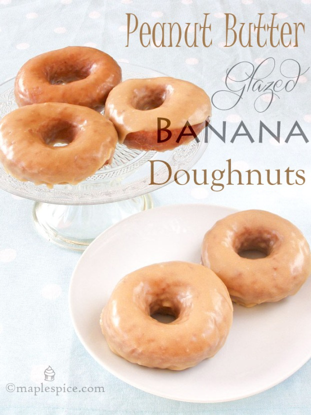 Vegan Banana Doughnuts with Peanut Butter Glaze