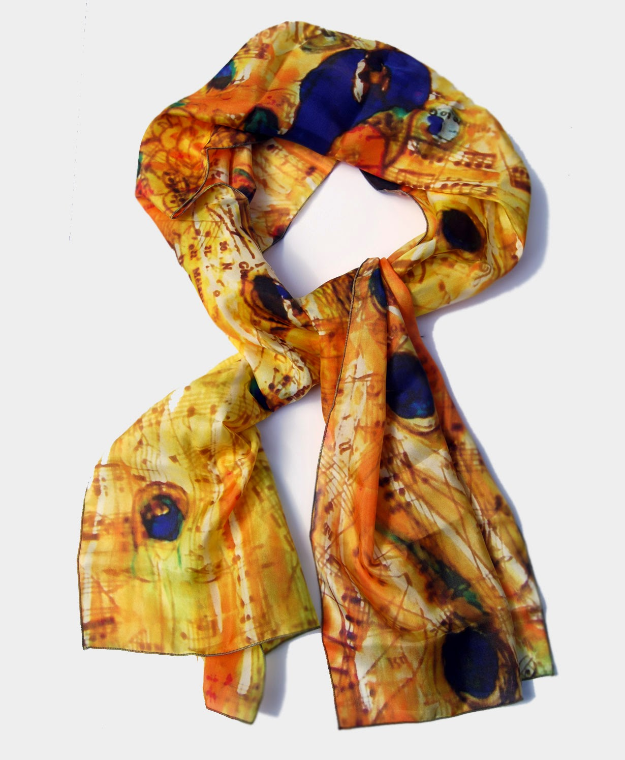 printed yellow scarf trendy for fall 2014 https://www.etsy.com/listing/201921784/printed-peacock-silk-scarf-yellow-scarf
