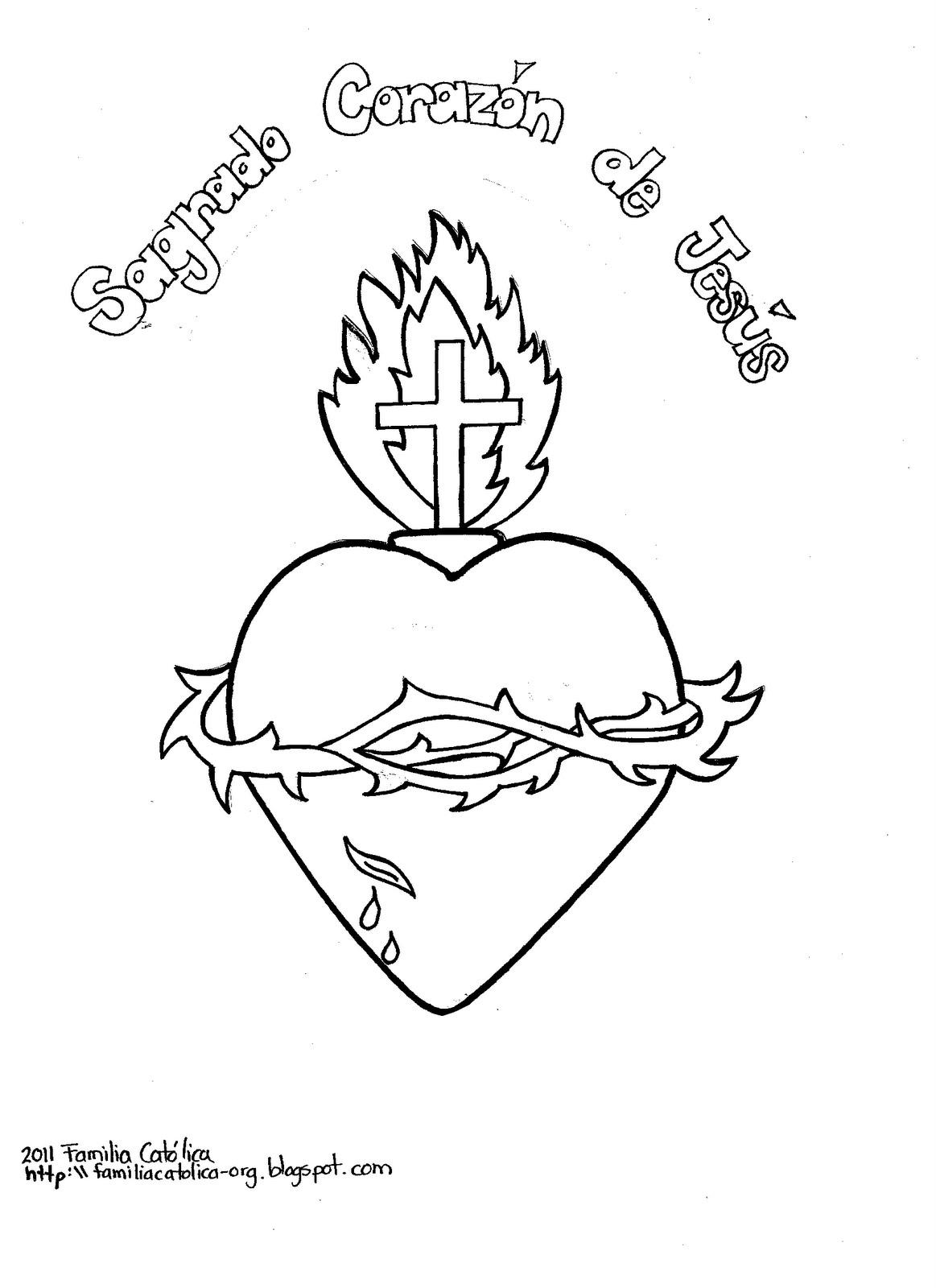 El Sagrado Corazón de Jesús - Coloreado y para colorear.