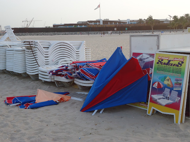 loungers and umbrellas for rent at Jumeirah Open Beach