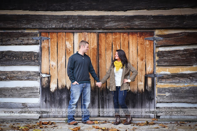 engagement photo of a couple at Fowler Park in Terre Haute, IN