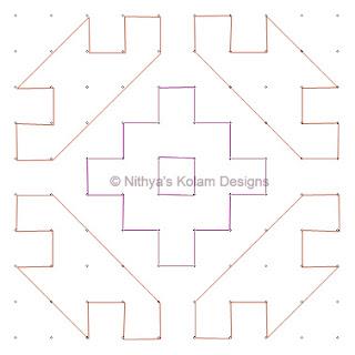 4 Deepam Kolam  dots 10 x 10