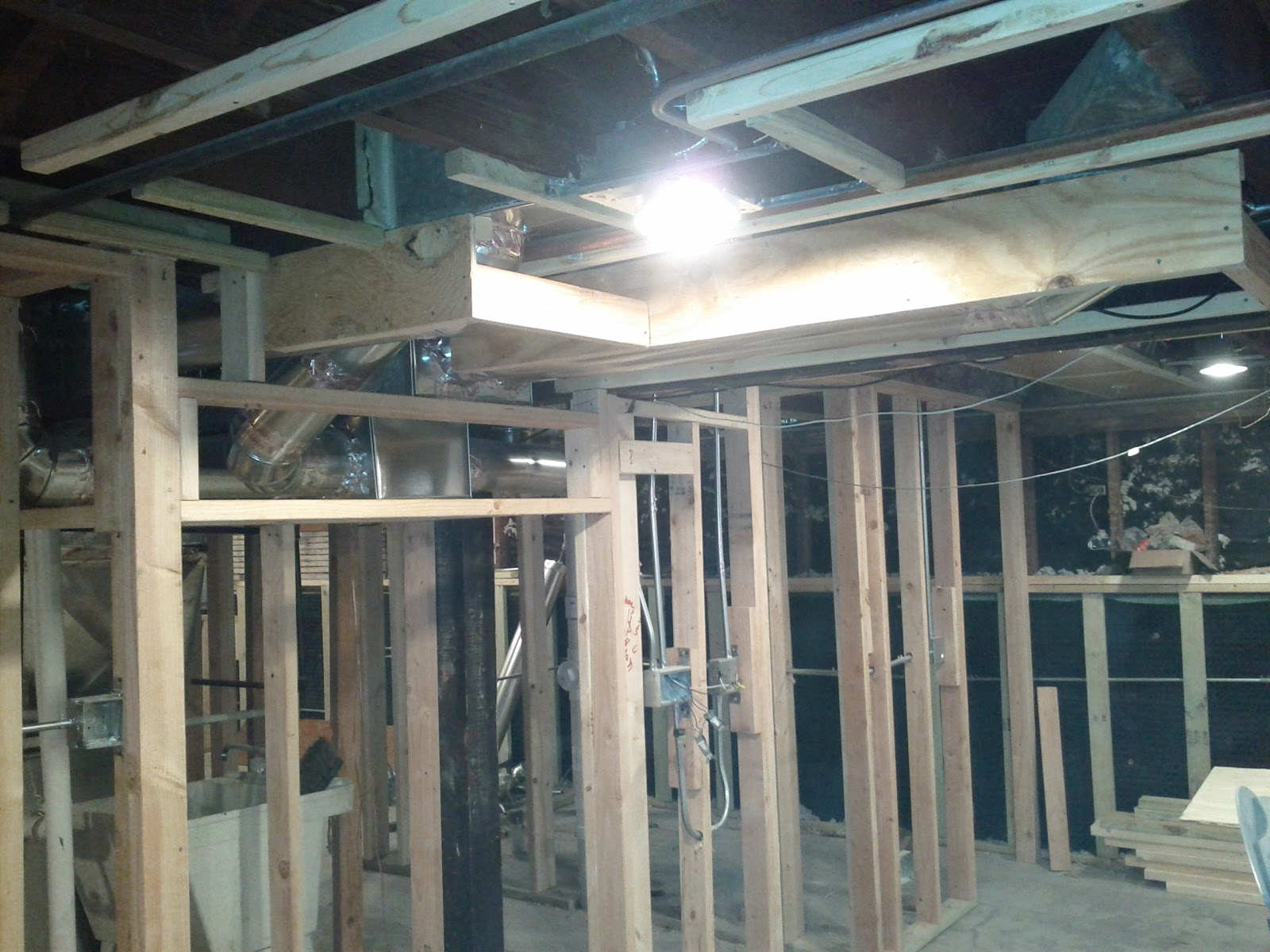 the framing is done the soffits are built all the various ducts are