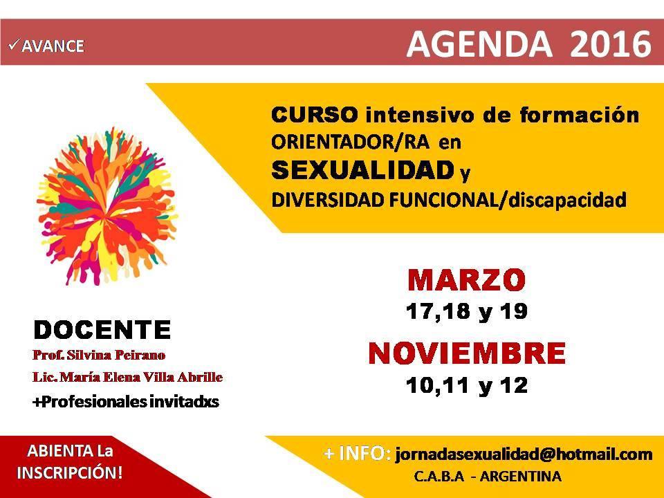 """CURSO INTENSIVO DE FORMACIÓN """"ORIENTADOR/RA en SEXUALIDAD y DIVERSIDAD FUNCIONAL/discapacidad"""":"""