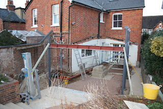 Building site for kitchen extension: steel beams put in place