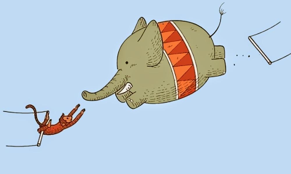 Mono y elefante en columpio