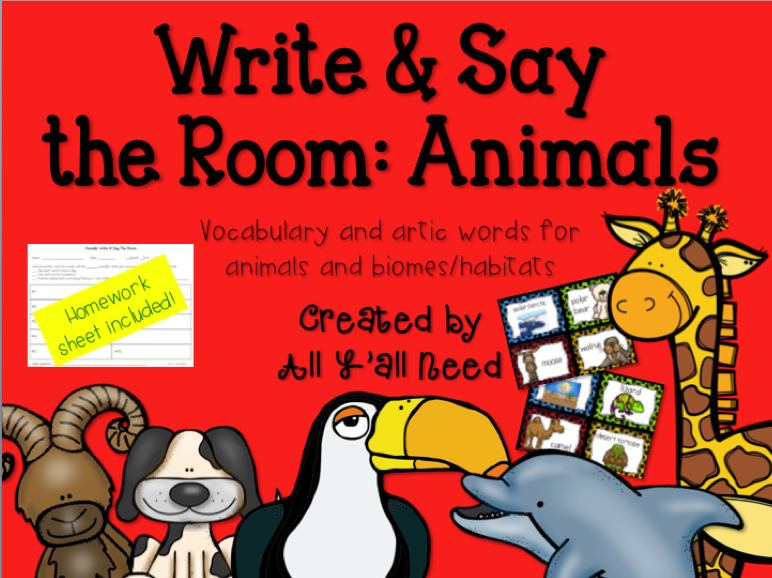 Write & Say the Room: Animals and Biomes/Habitats by All Y'all Need