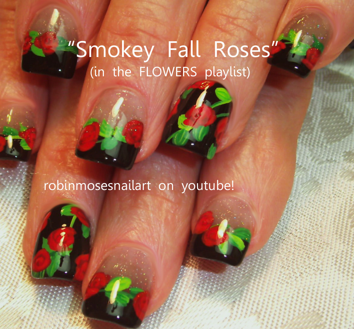 gargoyle nail art, red rose nail art, smokey grey nail art ...