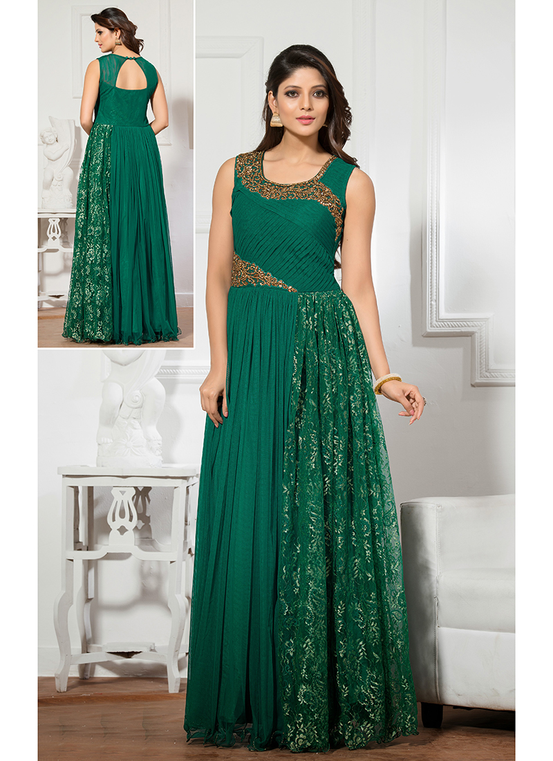 Green net embroidered work designer party wear gown for Floor touch gown