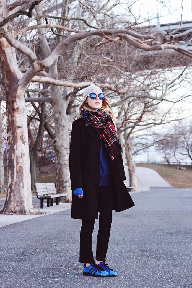 """Bare Ankles"" by Victoria of thewindofinspiration.com // #twoistyle #thewindofinspiration #ootd #outfitoftheday // wearing J.Crew classic fit wool coat, C. Wonder turtleneck sweater, Banana Republic sloan-fit black straight leg pants, adidas Originals Superstar sneakers in blue"