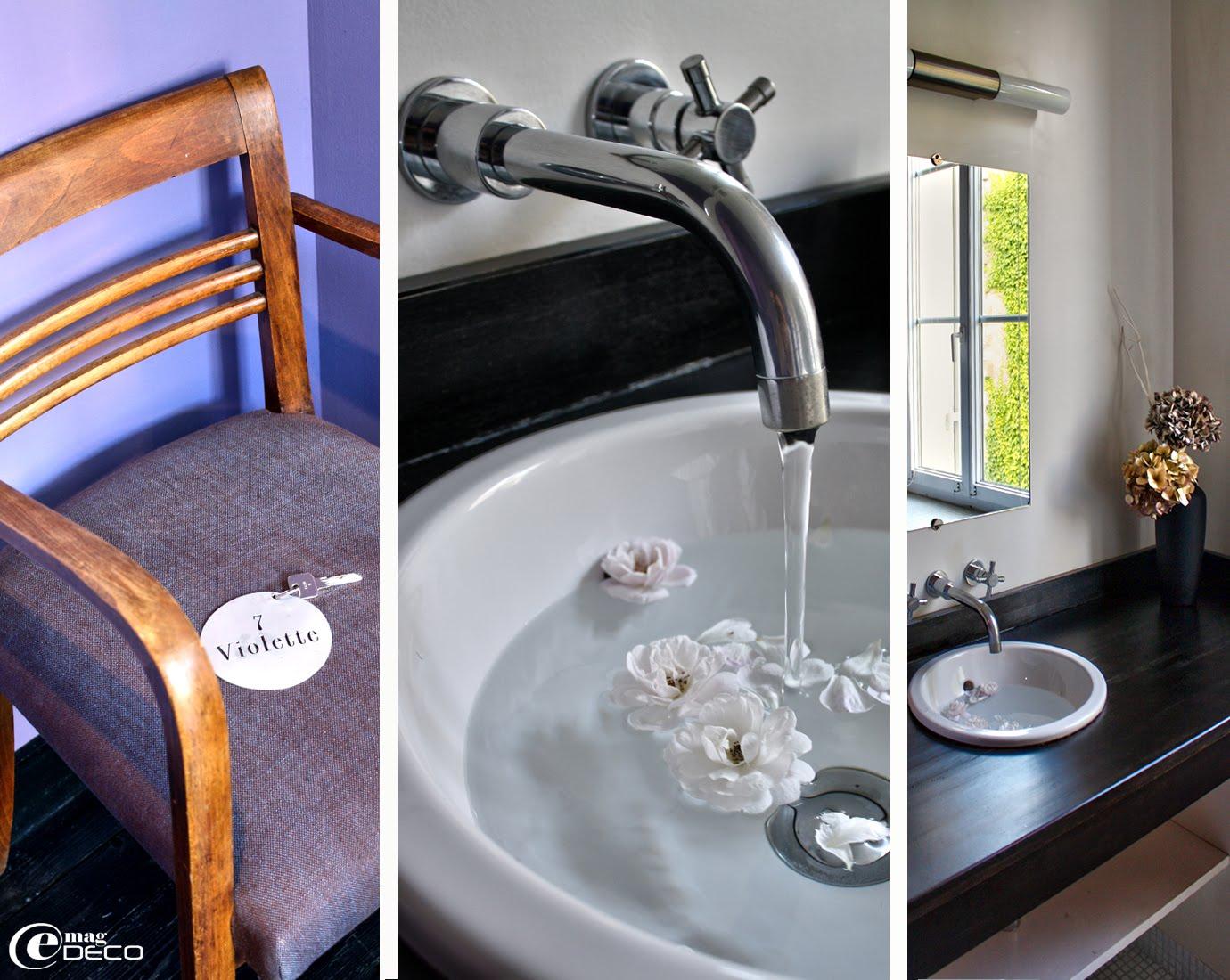 Détails de la salle d'eau de la chambre Violette de l'hôtel La Maison Bord'Eaux