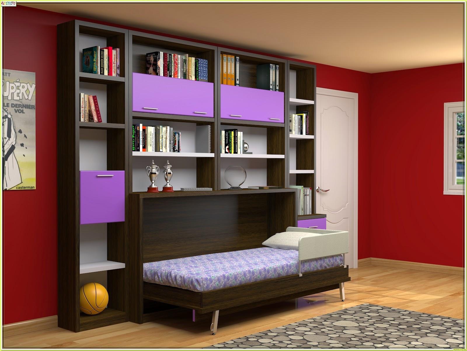 ... cama abatible ~ Cama abatible con armario y estanteru00edas de pared